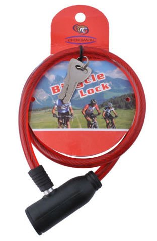 LOCK FOR BIKE • CABLE • cable length: 56 cm • total fastening: 66 cm • strongly braided cord in hard silicone sheath • steel • #3181