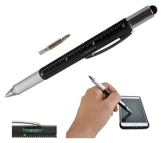 6 in 1 Multi Function Touch Screen Stylus Ballpoint Pen Screwdriver Ruler New