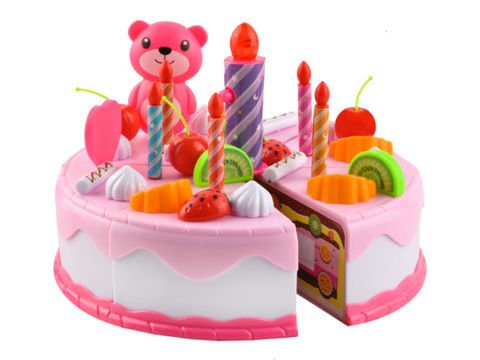 Cutting Cake Toy Cake Luminous Candles Rosa 80 Pieces Cutlery 7466