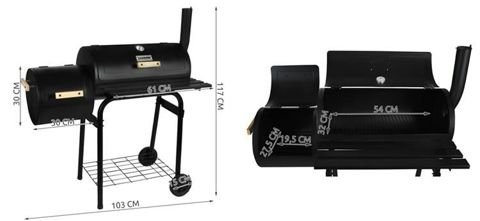 BBQ Barbeque Charcoal Grill Cooking Garden Patio Wheels Outdoor Smoker 5165