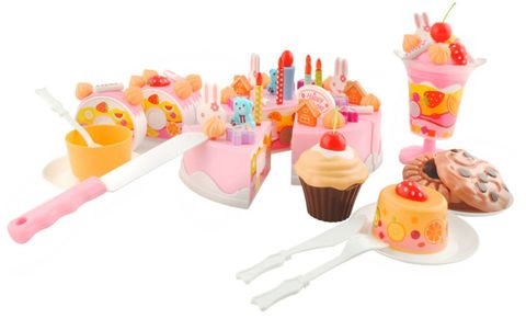 BIRTHDAY CAKE  75 pieces  pieces of cake and roulades joined together with velcro  after blowing on a candle  you will hear the applause  15 x 8 cm  from 3 years powered by batteries  #4504