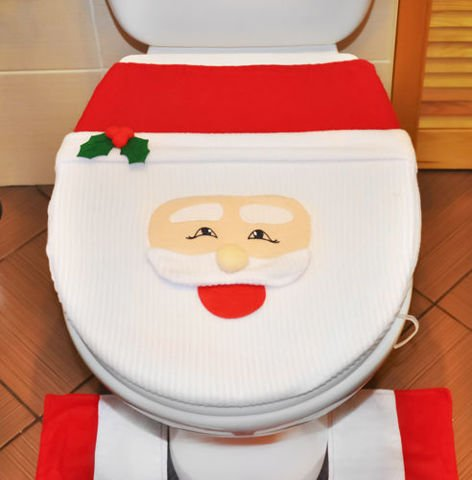 Bathroom Set Santa Claus Decoration Toilet Mat Toilet Cover Toilet # 4789