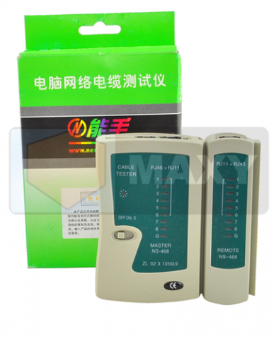 CABLE TESTER RJ45/RJ11, power supply: 9V battery, 10.5 x 10.3 x 3 cm, for testing UTP, FTP, STP and telephone cables RJ45, RJ11, #423