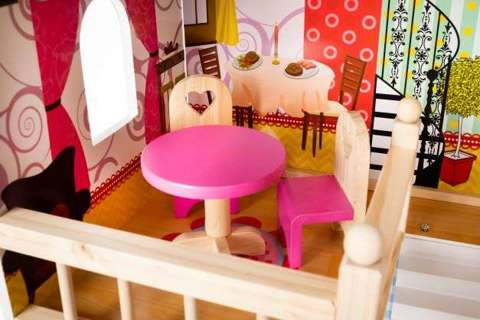 Dollhouse with wooden accessories dolls villa girl toys 11252