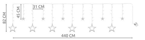 Fairy lights warm / cold 12 stars curtain 138 LEDs battery operated inside IP20 decoration 7112