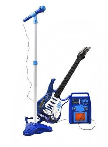electric guitar amplifier microphone with stand blue set for boys battery operated blue 1554. Black Bedroom Furniture Sets. Home Design Ideas