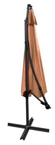 Garden umbrella with 3m extension arm - brown