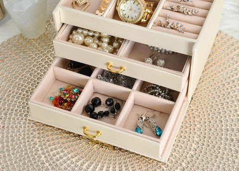 Jewelery box Suitcase 3 colors Lockable mirror Handle 2 drawers