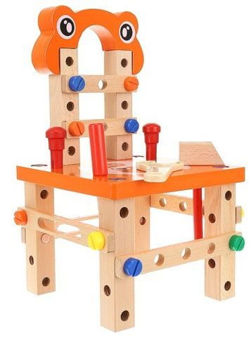 Kids Wooden Workbench with Tools and Accessories Wooden Construction Bench for Boy Set  9441