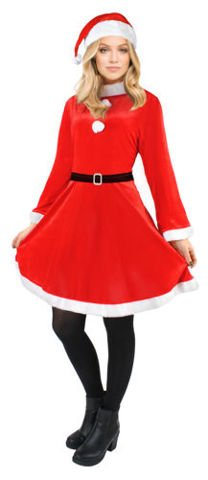 Ladies Santa Claus Costume Christmas Woman Ladies Outfit Dress Cap Belt # 4778