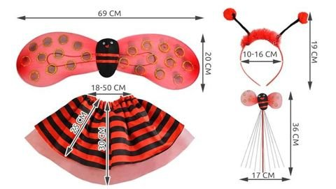 Ladybug Fancy Dress Costume Outfit 4-piece Set Colourful Red and Black #6613
