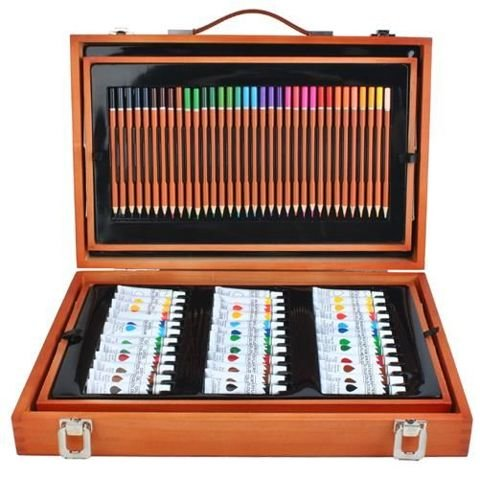 Mega Set For Painting And Drawing Painting Package For Visual Artist 174 Pieces Items Parts Big In Suitcase Gift    6004
