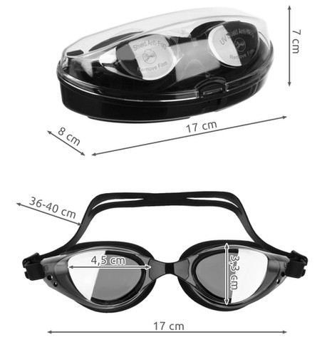 Swimming goggles with swimming accessories Nose clip and earplugs UV protection Anti-fog for children and adults with free storage box