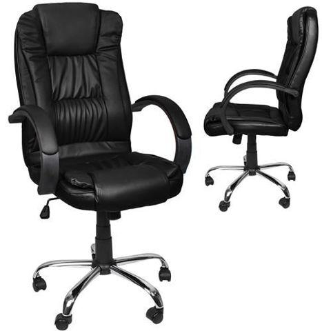 Swivel Office Chair Tilt Office Chair Chrome Black 8983