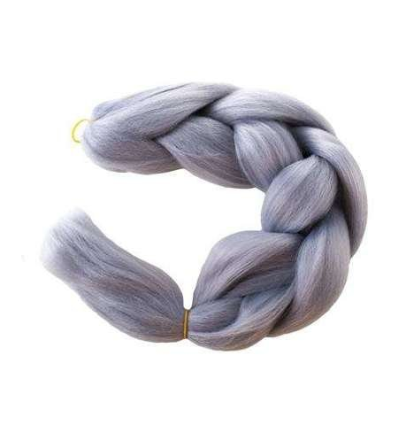 Synthetic hair braids - gray