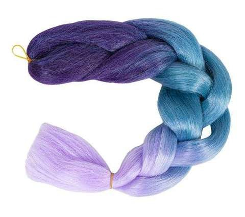 Synthetic hair ombre blue / fio braids W10342