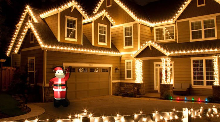 Weihnachtsmann Aufblasbar LED beleuchtet 180 cm innen außen ...